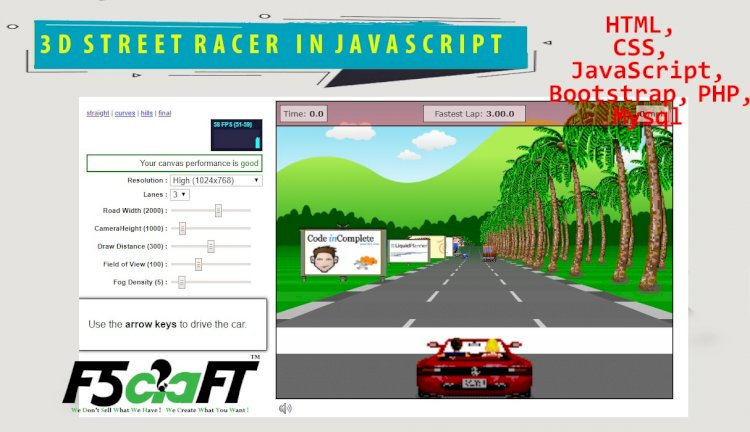 3D STREET RACING GAME IN JAVASCRIPT WITH SOURCE CODE